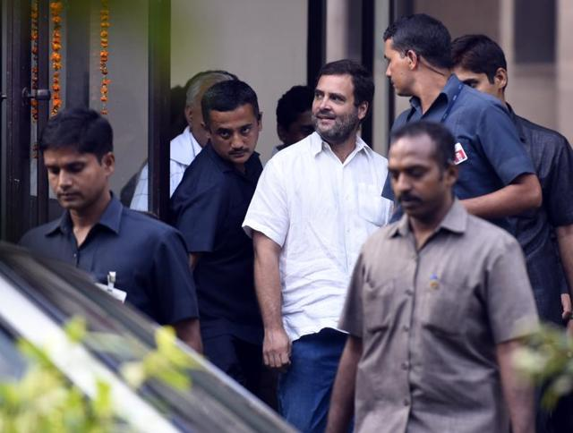 Congress vice-president Rahul Gandhi leaves Mandir Marg Police Station after meeting the family members of ex-serviceman Ram Kishan Grewal, who allegedly committed suicide over the 'one rank one pension' issue.