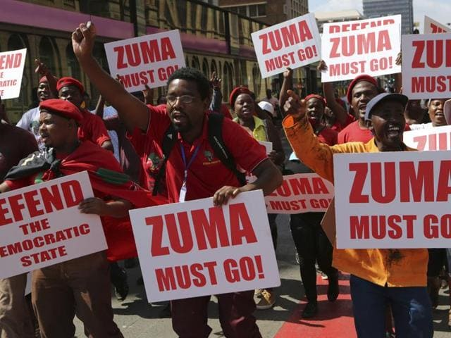 Economic Freedom Fighters supporters march in downtown Pretoria, South Africa, Wednesday, Nov. 2, 2016.