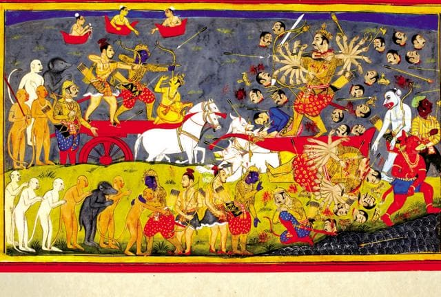 The battle between Ram and Ravana. All of Ram's weapons are of no use against the demon king, until Ram finally uses the Brahmastra.