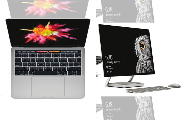 The new Apple Macbook Pro (left) and Microsoft's Surface Studio (right)