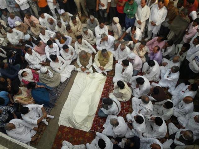Ex-soldier Ram Kishan Grewal's funeral.