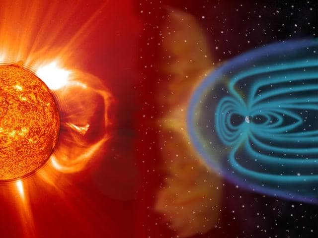 Earth's magnetic shield,solar rays,geomagnetic storm