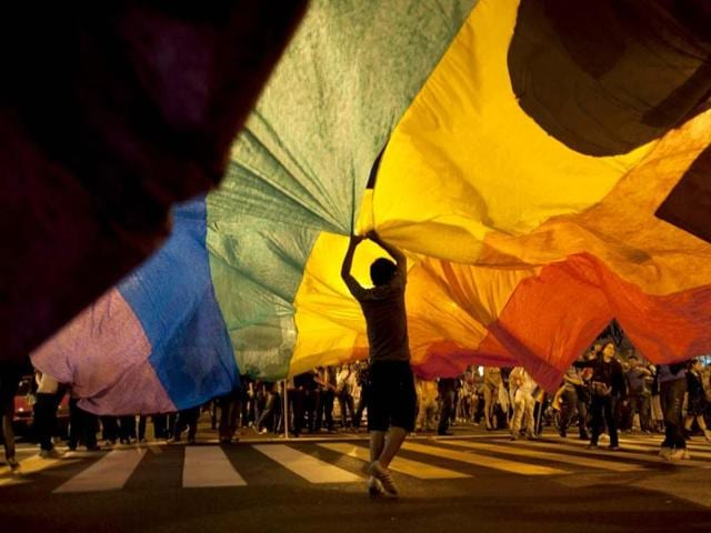 A participant holds up a rainbow banner at Argentina's annual gay pride parade in Buenos Aires.