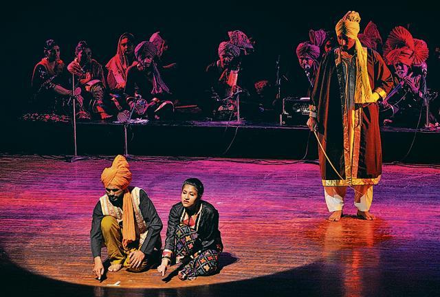Artistes enacting a play 'Mirza Sahiban' play at Tagore Theatre in Chandigarh.