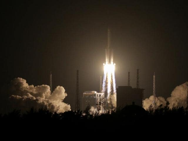 A Long March 5 carrier rocket is launched from Wenchang Satellite Launch Center in Wenchang, Hainan Province, China .