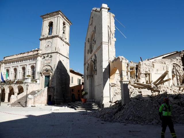 St. Benedict's Cathedral in the ancient city of Norcia is seen following an earthquake in central Italy.