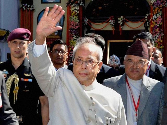 President Pranab Mukherjee delivers his address at a banquet organised in his honour in Kathmandu.