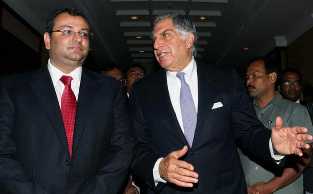 File photo of Ratan Tata with ousted chairman Cyrus Mistry.(PTI)