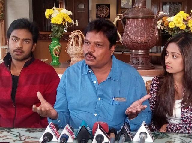 Director G Ravi Kumar along with his team at a press conference in Srinagar on Wednesday.