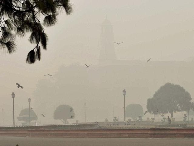 A view of Raisina Hill covered in smog in New Delhi.