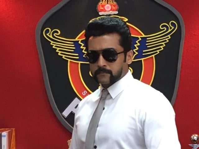 Suriya sports handlebar moustache in S3, third part of Singam franchise.