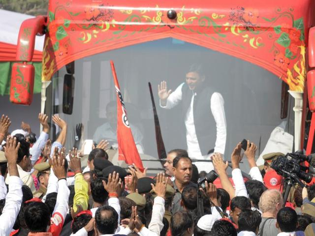 Uttar Pradesh chief minister Akhilesh Yadav waving to supporters during his Rath Yatra in Lucknow on Thursday.