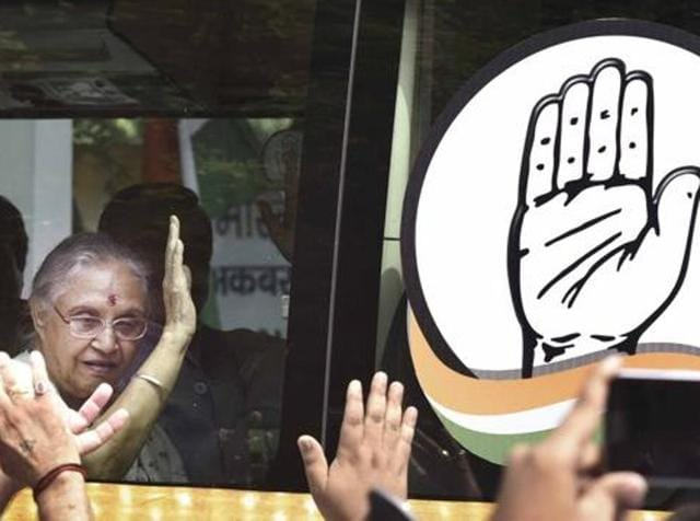 File photo of UP Congress Chief Ministerial candidate Shiela Dikshit. She undertook a bus yatra in July 2016 to launch the party's election campaign with the slogan