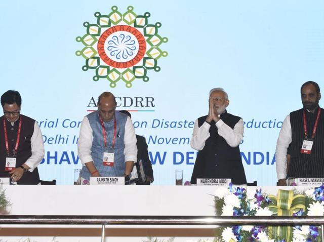 Prime Minister Narendra Modi, second from right, during the three-day Asian Ministerial Conference for Disaster Risk Reduction (AMCDRR) 2016 at Vigyan Bhavan in New Delhi on Thursday.