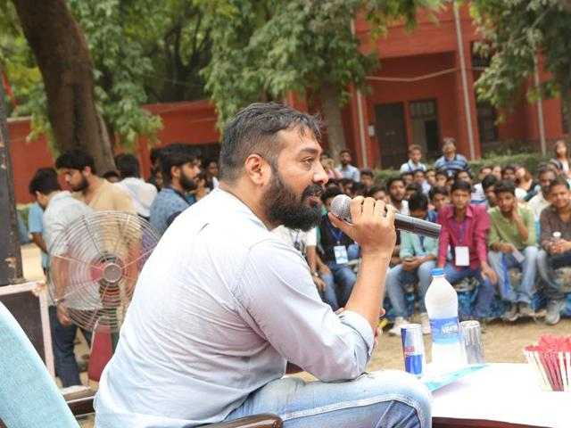 Actor and director Anurag Kashyap in Delhi University.