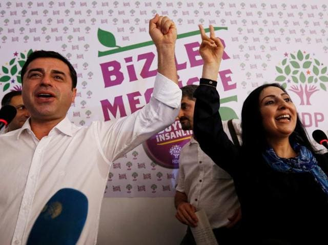 Co-chairs of the pro-Kurdish Peoples' Democratic Party, Selahattin Demirtas and Figen Yuksekdag, were detained, according to a ministry statement.