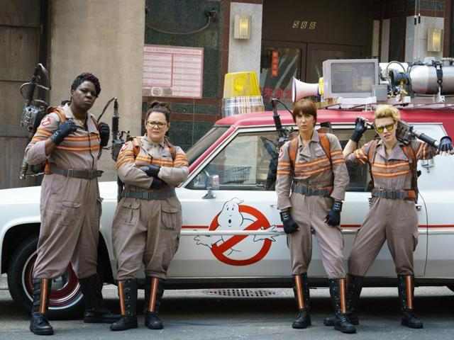 In this image released by Sony Pictures, from left, Leslie Jones, Melissa McCarthy, Kristen Wiig and Kate McKinnon from the film, Ghostbusters.