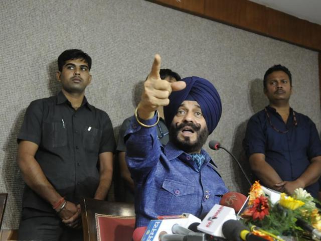 All-India Anti-Terrorist Front chairman Maninderjeet Singh Bitta addresses a press meet in Bhopal on Thursday.