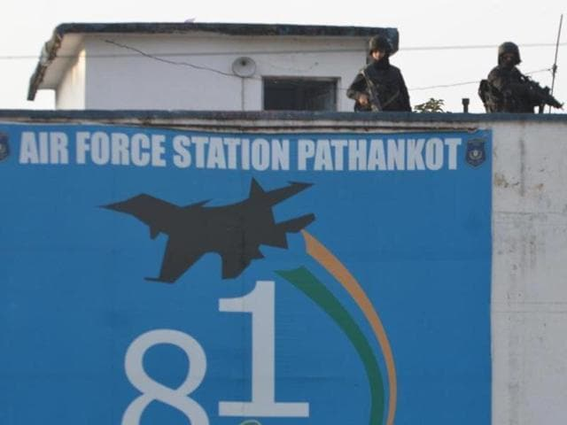Commando stand guard at Airbase during search operation at Airbase after completion of terrorist combing operation in Pathankot