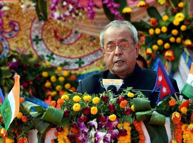 President Pranab Mukherjee attends a reception at Tirhutiya Gachi during his state visit to Nepal, on Friday.