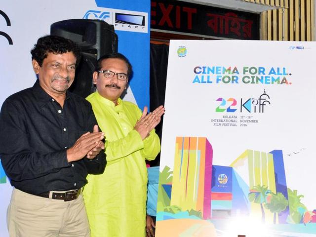 Filmmaker Goutam Ghose, Bengal sports minister Arup Biswas and  information and cultural affairs secretary Atri Bhattacharya at the press conference of the 22nd Kolkata International Film Festival.