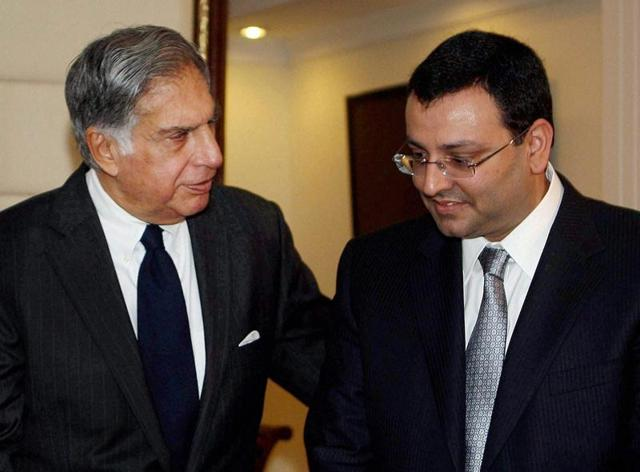 A file photo of Ratan Tata (L) with Cyrus Mistry.