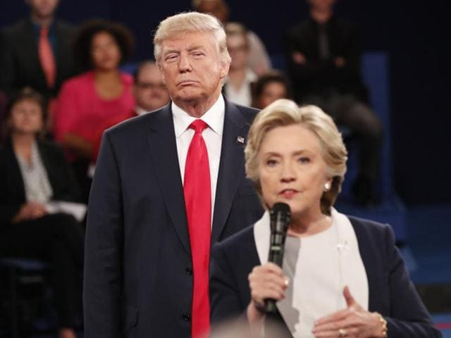Donald Trump and Hillary Clinton at their third and final 2016 presidential campaign debate in las Vegas.