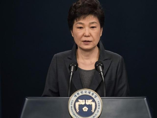 South Korea's President Park Geun-Hye speaks during an address to the nation at the presidential Blue House in Seoul on November 4, 2016. Park on November 4 agreed to submit to questioning by prosecutors investigating a corruption scandal engulfing her administration, accepting that the damaging fallout was