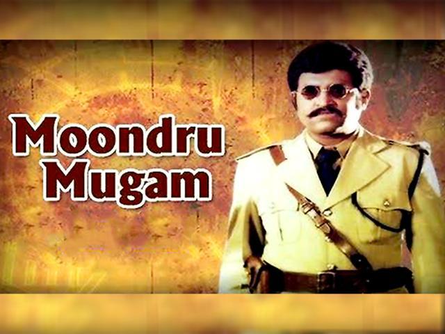 Rajinikanth in the 1982 Tamil film, Moondru Mugam.