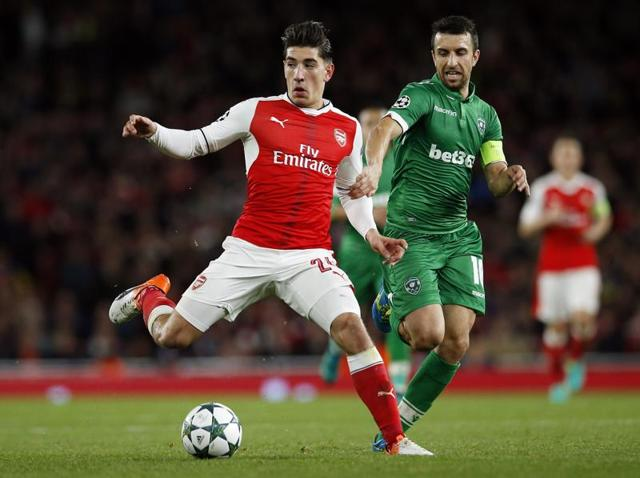 Arsenal's Hector Bellerin applauds the crowd after their Champions League match,