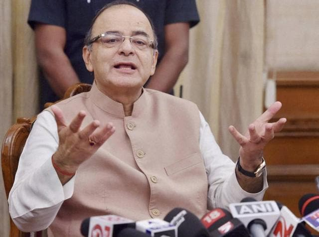 Union finance minister Arun Jaitley addresses the media after at North Block in New Delhi on Friday.