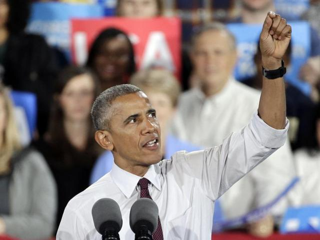 US President Barack Obama delivers remarks at a Hillary for America campaign event in Charlotte, North Carolina.