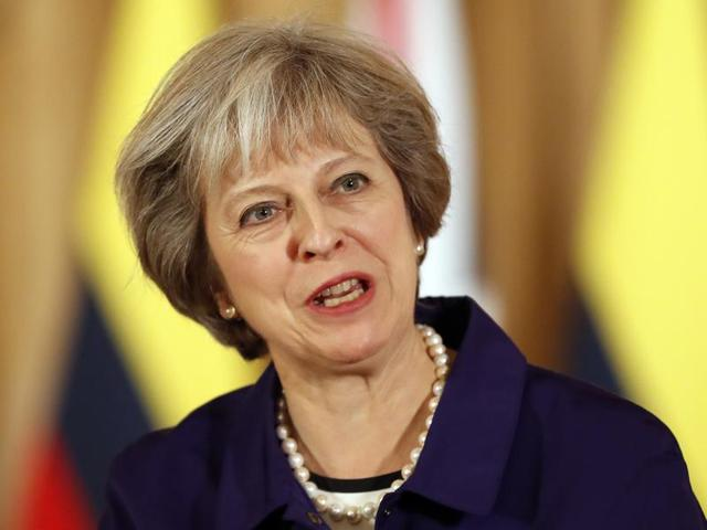 Britain's Prime Minister Theresa May speaks during a press statement at 10 Downing Street in London.