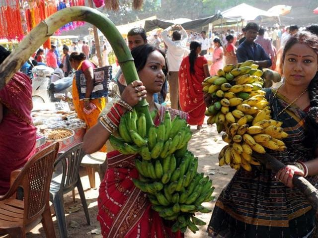 Devotees  buying items to be used in the Chath rituals at a dedicated Chhath  market at Zila school campus in Ranchi.