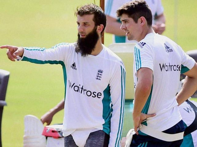 The England cricket team practised at the Saurashtra Cricket Association stadium in Rajkot ahead of the first Test.(PTI)