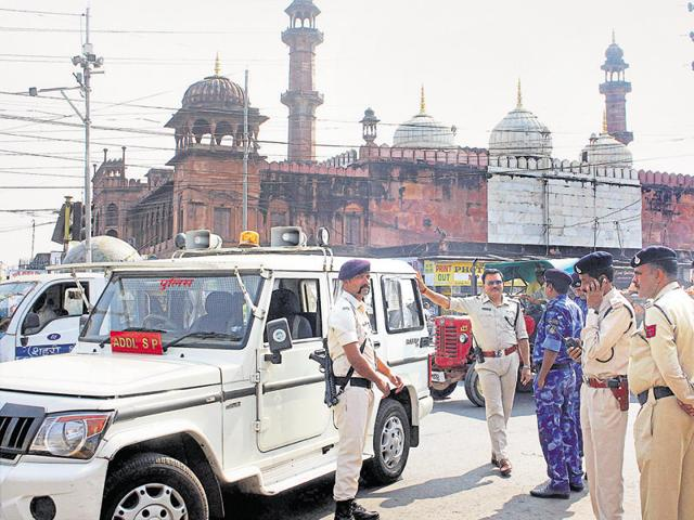 RAF personnel deployed in old city area in Bhopal on Friday,