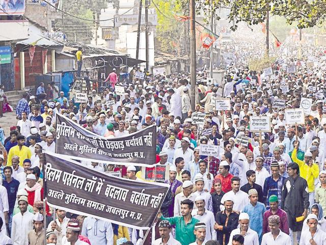 Muslims in Jabalpur protest against the BJP government's stand on the 'triple talaq' issue, on Friday.