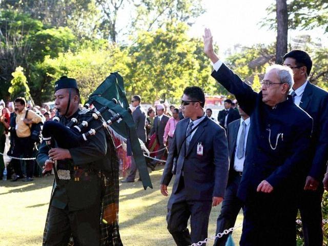 President Pranab Mukherjee during his visit to the Janaki Temple at Janakpur, Nepal on Friday.