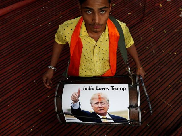 Activists of Hindu Sena celebrate premptively for the possible victorious outcome for US Republican presidential candidate Donald Trump in the forthcoming presidential US elections.