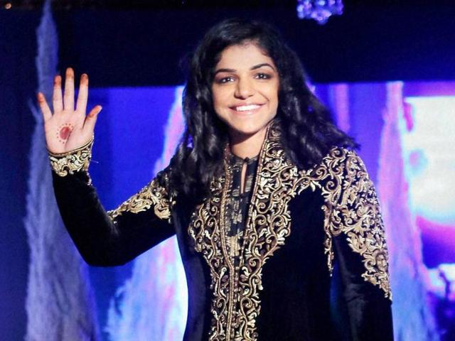 Wrestler Sakshi Malik at a fashion show during the announcement of 2nd session of Pro Wrestling League.