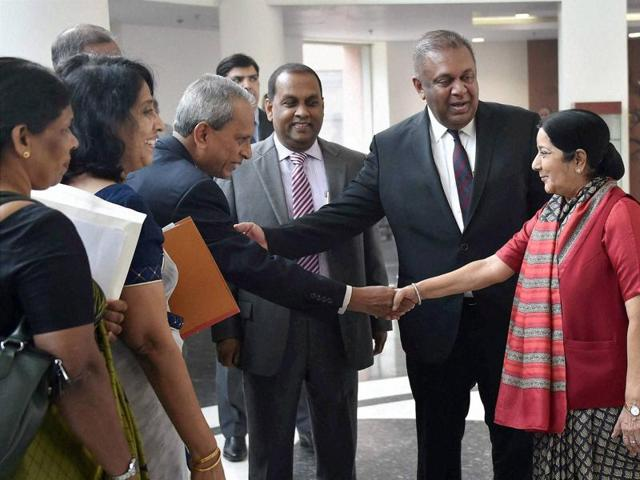 Sri Lanka foreign affairs minister Mangala Samaraweera introducing his official delegation to Indian foreign minister Sushma Swaraj in New Delhi on Saturday.