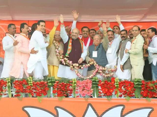 BJP president Amit Shah with other party leaders at Parivartan Yatra in Jhansi.