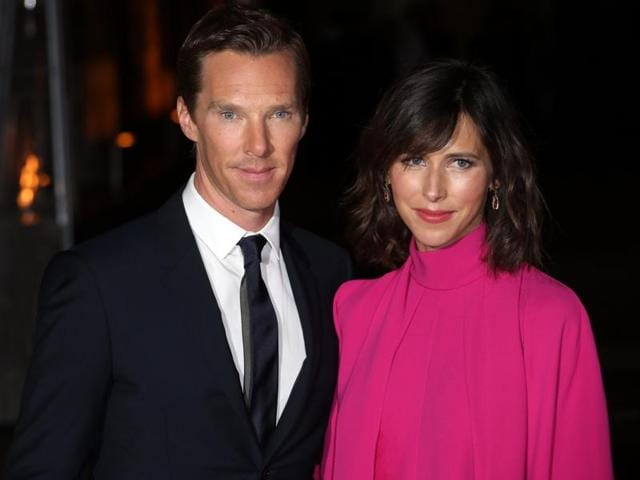 Actor Benedict Cumberbatch and his wife Sophie Hunter pose for photographers upon arrival at the launch event of the film Doctor Strange, at Westminster Abbey in London.