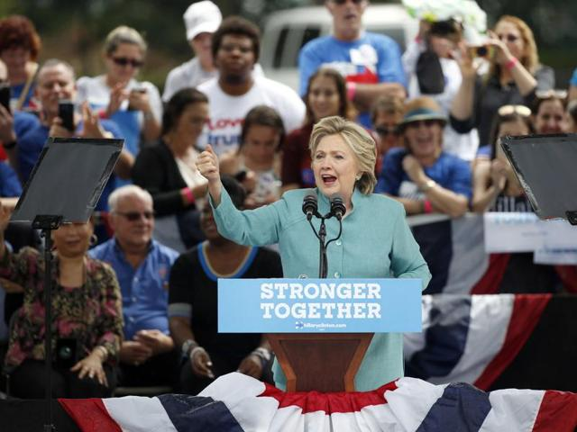 Democratic presidential candidate Hillary Clinton speaks at a rally in Pembroke Pines on Saturday.