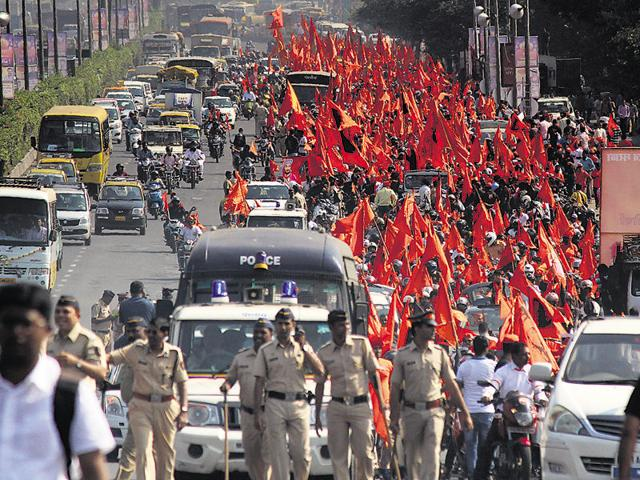 Sunday's rally started in Chunabhatti and concluded opposite CST.