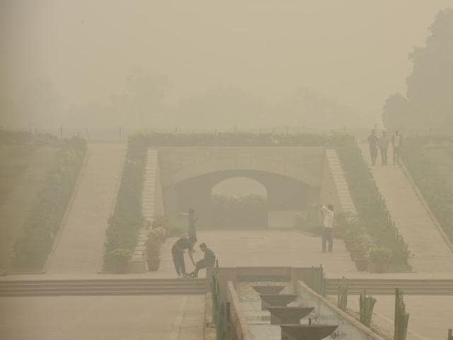 Rajghat is seen engulfed in smog, in New Delhi.