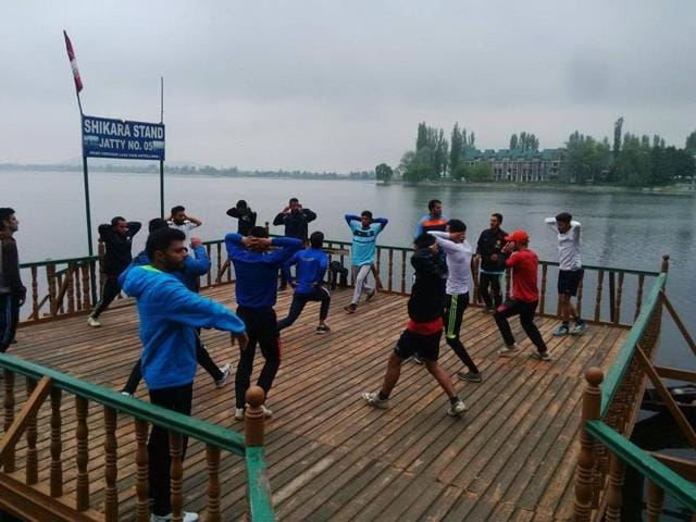 A majority of Real Kashmir FC's practice sessions take place in Srinagar.(HT PHOTO)