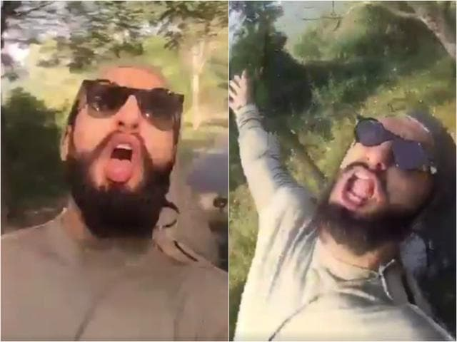 """Ranveer Singh on Monday took to Twitter to share a dubsmash video of him lip-syncing the lines of """"Pichle Saat Dinon Mein""""."""