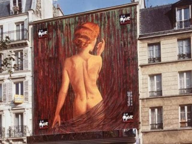 Exterior view of the Erotic Museum in the Pigalle neighbourhood of Paris. The museum