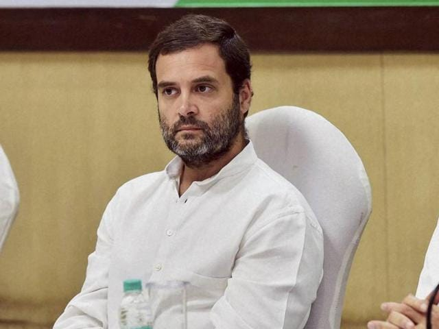 Congress vice-president Rahul Gandhi with former PM Manmohan Singh chairing a meeting of the Congress Working Committee (CWC) meeting in New Delhi.